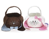 Custom Easter bunny baskets with monogramming in pink and brown