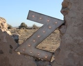 """4pc 24"""" Marquee Letter or Number Lighted Sign Wood.... A B C D E F G H I J K L M N O P Q R S T U V W X Y Z 1 2 3 4 5 6 7 8 9 0"""