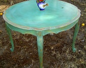 VINTAGE DINING TABLE - French Round Painted Aqua with Orange and Yellow Undertones Distressed Provincial