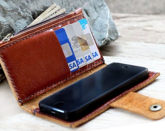 iPhone5/ Branch brown leather iPhone wallet with case and mini zip