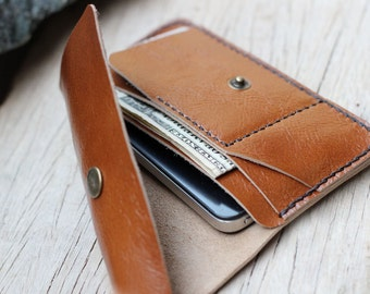 S-Beige leather iphone wallet