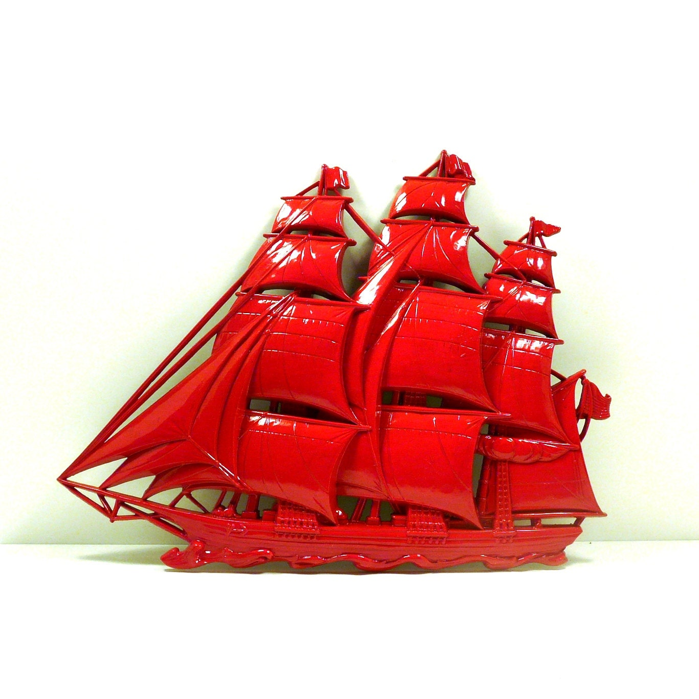 Red ship nautical home decor upcycled wall art unique by for Ship decor home