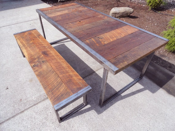 6 ft industrial dining table w matching 5 ft by