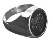 Wolf Ring Black Onyx Genuine Gemstone Regnas Signet Sterling Silver 925
