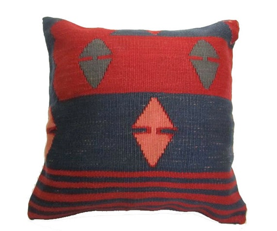 Vintage Turkish Kilim Pillow Cover, 16x16 - Delivered in 3 days with tracking number