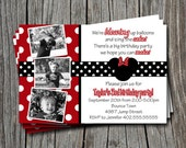 Custom Minnie or Mickey Mouse - Red Black White Polka Dot Birthday Party Invitation   - Any Color