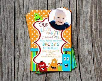 Custom Photo Little Monster 1st 2nd 3rd  Birthday Party Invitation Card   - You Print