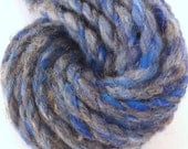 Natural grey and electric blue . Hand spun yarn. 2 ply Border Leicester and Australian merino.