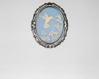 Blue Wedding Hummingbird Rose Vintage Style Cameo Shabby Chic Kawaii Scarf Purse Charm