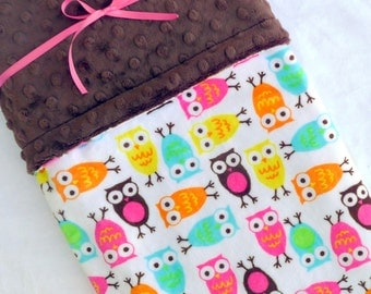 Baby Blanket - Owl Blanket - Baby Girl Blanket - Owl - Baby Shower - Baby Gift - Newborn Blanket - Crib Bedding - Nursery Decor - Girl