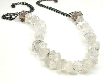 Rock Quartz Crystal Necklace - Chunky Crystal Statement Necklace - Earthy Organic Jewelry - Natural Quartz Bib Necklace - Artisan Necklace