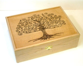 """Tree of Life Tea Chest, Watch Box, Jewelry Box, or Valet Box: 12 compartments, Handcrafted hardwood maple, 12"""" x 9.5"""""""