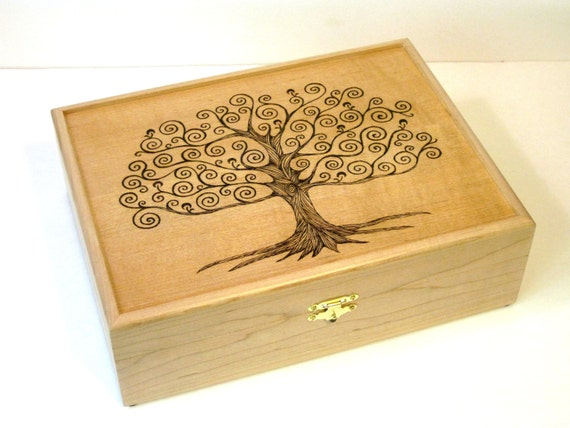 Tree of Life Tea Chest Watch Box Jewelry Box or Valet Box