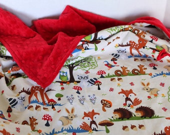 Baby Blanket, Woodland Forest Friends, Minky Blanket, Toddler Blanket, Modern Baby Blanket, Crib Blanket, Augie and Lola Blanket