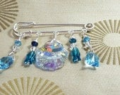 Swarovski Fish and Shell Wire Wrapped Kilt Pin Scarf Pin