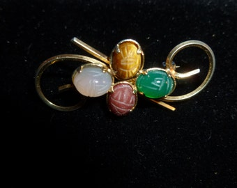 12K Gold and Colorful scarab Stones