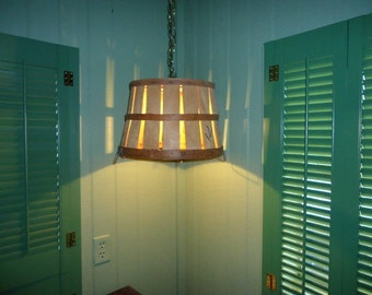 Wonderful Original Vintage Wood Fruit Basket- Re Purposed into a Great Vintage Hanging Basket Ceiling Light