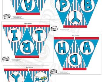 Smurfs Party Banner, Smurfs Birthday Decorations, Smurfs Party, Bunting, Banners, Birthday Banner, Birthday Bunting