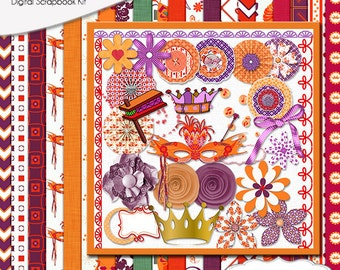 Purim  Digital Scrapbook Kit: Radiant Orchid, Orange, Purple, Red, Groger, Mask, Flowers, Clip Art