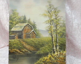 Vintage Oil on Canvas Log Barn Landscape River Scene Oil Painting on Wood Stretchers 10 x 8 Signed Huling
