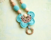 Blue beige Breastfeeding necklace with coconut ring - teething toy - Teething Necklace - Breastfeeding necklace