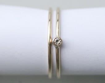 Petite moissanite engagement ring , wedding set , recycled 14k yellow gold , eco friendly wedding ring