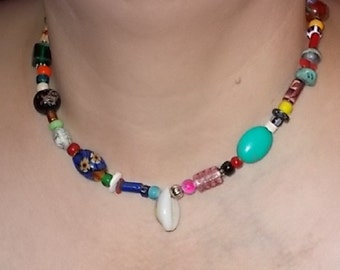 Native American Inspired Design - Gathering Necklace - Gemstone, Shell, and Glass Trade Beads