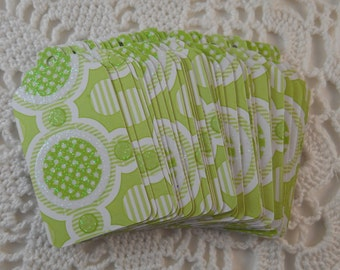 Lime Green Gift Tags Baby or Bridal Shower Goody Bag Favor Label Merchandise Tag - Set of 25
