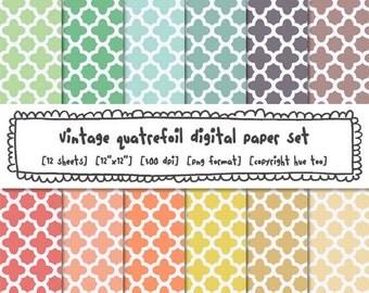 vintage pastel digital paper modern quatrefoil patterns, classic photography backgrounds, trellis pattern moroccan 497