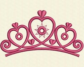 INSTANT DOWNLOAD Heart Tiara Valentine's Day Baby Girl Decor Embroidery Design VA008