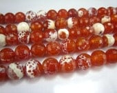 fire agate faceted round bead 8mm 15inch strand