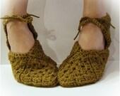 Antique Taupe Slipper, Granny Square Slippers, Crochet Slipper, Women Slipper, Slipper With Ties, Ballet Slipper, Gladiator Sandal