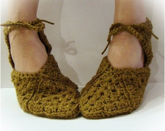 Antique Taupe Slipper, Granny Square Slippers, Crochet Slipper, Women Slipper, Slipper With Ties, Ballet Slipper, Gladiator Sandal