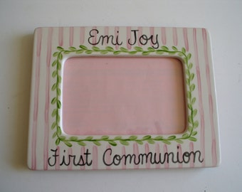 Personalized hand painted First Communion Baptism Christening Dedication Birth Frame