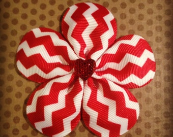 Red and White Chevron Flower Hairclip...Girls Hairbows...Baby/Infant Hairbows...Hairclips...Valentines Hairbows