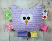 Modern Floral Baby Rattle Teether, Owl Plush Baby Rattle and Tag Toy and Teether by JuteBaby