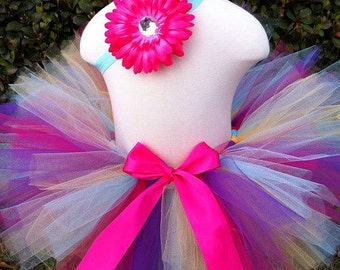 Springtime Party Multi Colored Pink Yellow Purple and Teal Spring Tutu with Matching Rhinestone Daisy Headband Newborn-3t Photography prop
