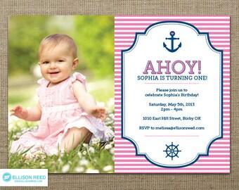 Nautical Invitation - Nautical Birthday Invitation - Nautical Printable - First Birthday Invitation - Girl Invitation - Pink Invitation