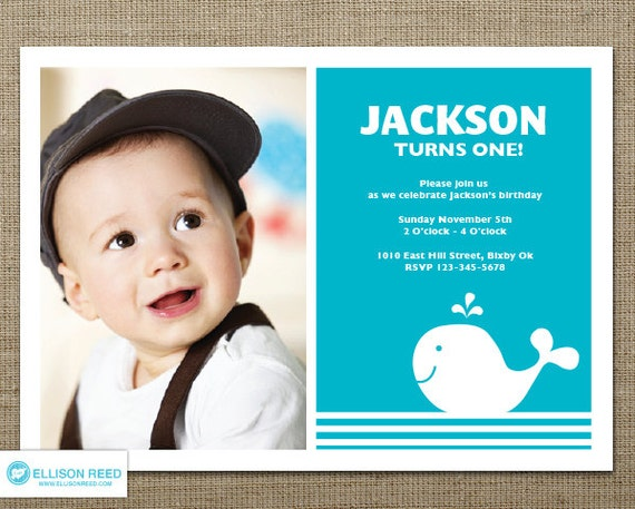 Whale Invitation 1st Birthday Invitation Nautical Boy