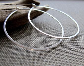 Sterling Silver Flat Hoop Earrings. Hammered thin Hoops. Sterling Silver Modern Earrings.Classic Hoop Earrings. lightweight Everyday Hoops