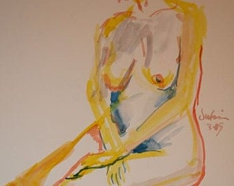 Life Drawing of Nude Women Watercolor on Paper