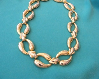 80s Vintage Choker, Gold Tone Ovals, Classic, Modern