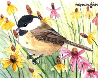 ACEO Limited Edition - Chickadee in wild flowers, in watercolor