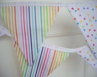 SALE - rainbow heart and stripe fabric flag bunting - 7 flags