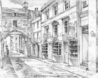 A4 size print of a pencil drawing Trim Street Bath England by john menage