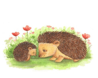 Nursery Art, Hedgehog Art,  Hoggy and Mummy Secret print from an original watercolor illustration by Irene Owens