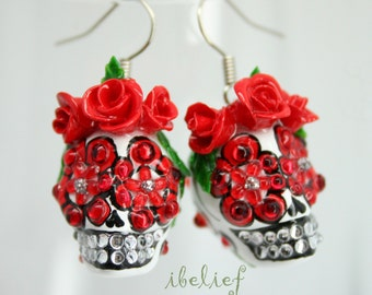 Skull in a-day is the day of the dead skulls red rose earrings stone ES0088