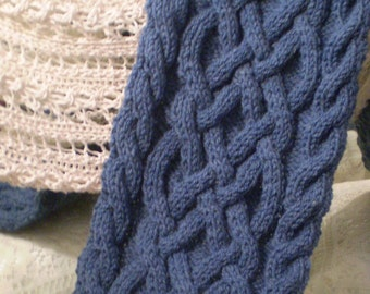 Handmade Knit Blue Wool Celtic Knot/Cable Knit Scarf