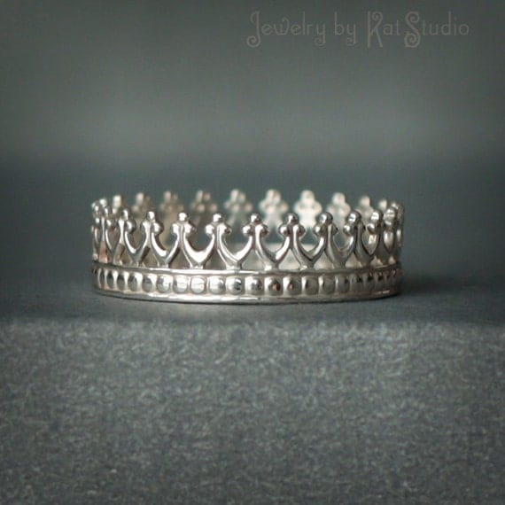 Crown ring for Queen - silver crown - sterling silver 925 - Jewelry by Katstudio
