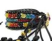 Leather Wrap Bracelet, Leather Cuff Bracelet, Fringe Bracelet